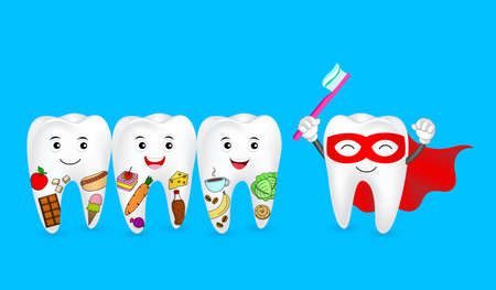 Funny cartoon tooth holding toothbrush. Tooth with food and Super tooth character. Human tooth problem, dental care concept. Illustration isolated on blue background. Иллюстрация