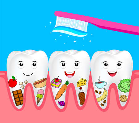 Cute cartoon tooth character. Cleaning food on human tooth, dental care concept. Illustration isolated on blue background.