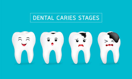 Cute cartoon tooth character show stages of caries development. Dental care concept, illustration isolated on blue background. Illusztráció