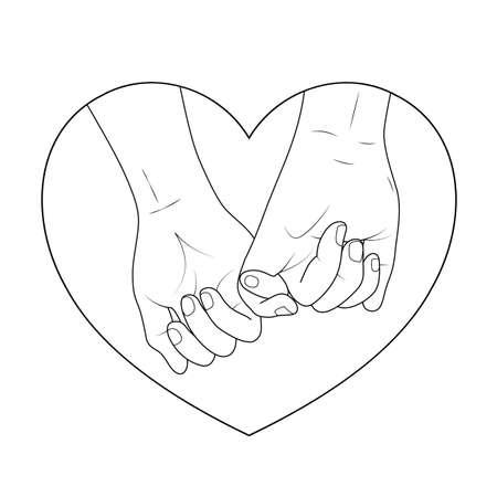 Couple holding hands outline in heart shape. Icon design, vector illustration, concept of supporting, you and me together. Ilustração