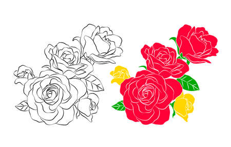 Bouquet of roses. Silhouette of black. Vector illustration isolated on white background. Happy Valentines day.