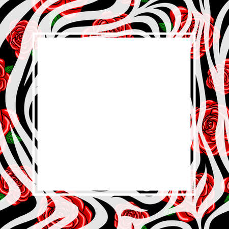 Gloly67 1 zebra print border with red rose design voltagebd