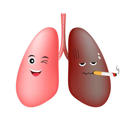 Healthy lung smile and damage smoking lung troubled cute cartoon character. Health care concept vector illustration isolated on white background. Illustration