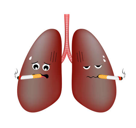 Damage smoking lung troubled cute cartoon character. Health care concept vector illustration isolated on white background.