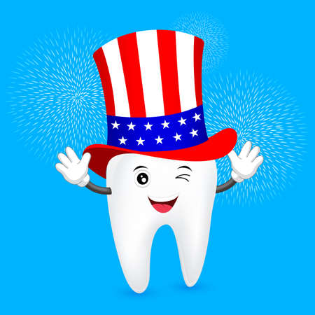 Cute cartoon tooth with American hat. Concept for patriotism in America and celebration of Independence day and the fourth of July for the United States illustration. 일러스트