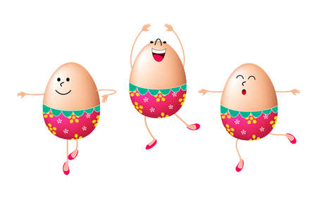 Cue tEaster eggs characters dancing. Happy Easter concept, illustration. Isolated on white background.