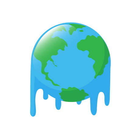Planet earth melting icon design. Stop global warming concept. Illustration, isolated on white background.