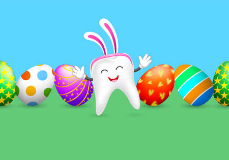 Cute tooth character with rabbit ears and Easter eggs.