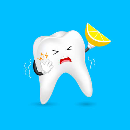Cute cartoon sensitive tooth character holding lemon. Acid sensitivity, dental care concept. Illustration isolated on blue background.