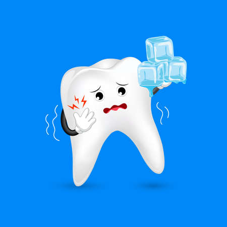 Cute cartoon sensitive tooth character holding ice. Cold sensitivity, dental care concept. Illustration isolated on blue background.