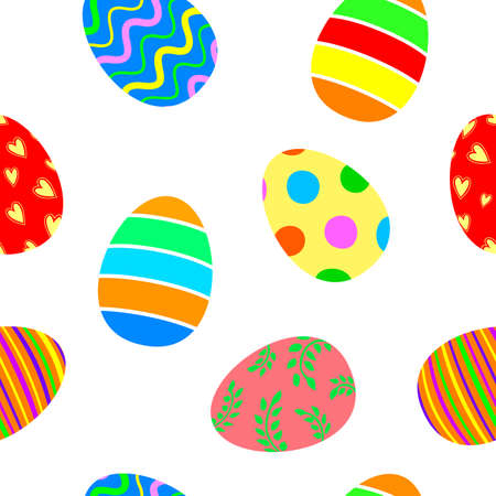 Seamless pattern with Easter eggs. Happy ester day concept, vector illustration isolated on white background.