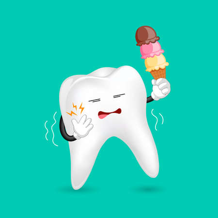 Cute cartoon sensitive tooth character holding ice cream. Cold sensitivity, dental care concept. Illustration isolated on green background.