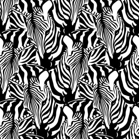 Zebra seamless pattern. Savannah Animal ornament. Wild animal texture. Striped black and white. design trendy fabric texture, vector illustration.
