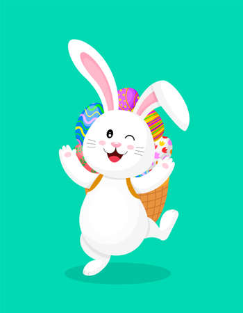 Cute cartoon white rabbit with backpack of Easter eggs.  Eggs hunt,  Happy Easter day.  Cartoon character design. Illustration isolated on green background.