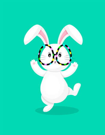 White rabbit with oval shape glasses. Cute bunny,  Happy Easter day, cartoon character design. Illustration isolated on green background.