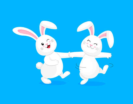 White rabbit dancing. Cute bunny,  Happy Easter day, cartoon character design. Illustration isolated on blue background.  イラスト・ベクター素材