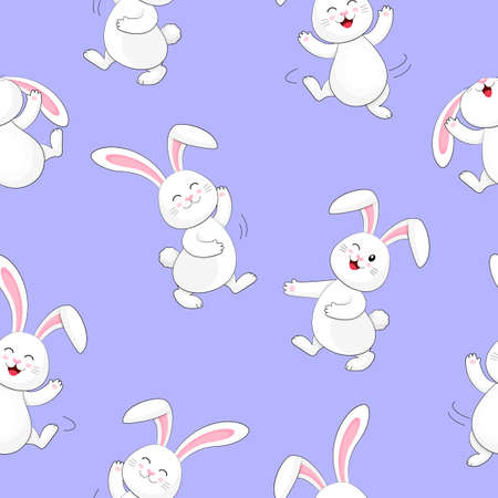 White rabbit dancing seamless pattern. Cute bunny,  Happy Easter day, cartoon character design. Illustration isolated on blue background.