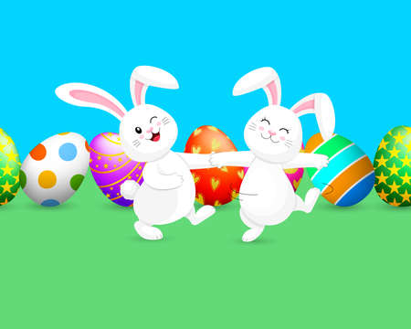 White rabbit dancing with background of Easter eggs. Cute bunny. Cartoon character design, vector illustration.
