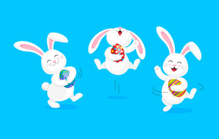 White rabbit holding Easter egg, jumping and dancing . Cute bunny. Happy Easter day, cartoon character design. Illustration isolated on blue background. Illustration
