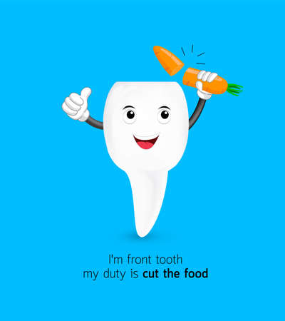 Cute cartoon front tooth cut carrot. Dental care concept. Illustration isolated on blue background. Illustration