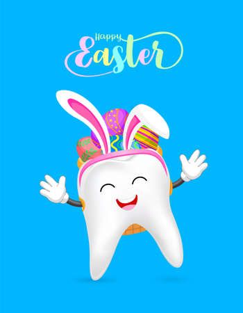 Cute cartoon tooth with backpack of Easter eggs. Eggs hunt, Happy Easter day. Cartoon character design. Illustration isolated on blue background.