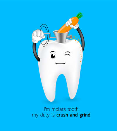 Cute cartoon molar tooth crush and grind carrot. Dental care concept. Illustration isolated on blue background.