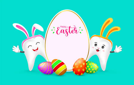 Easter banner background template with colorful eggs and bunny tooth. cute cartoon character design. Illustration on green background. Illustration