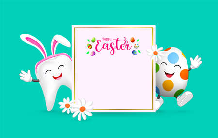 Easter banner background template with bunny tooth and egg character. cute cartoon character design. Happy Easter day.  Illustration on green background.