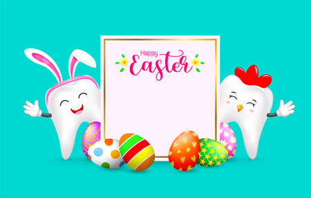 Easter banner background template with bunny tooth and hen tooth. cute cartoon character design. Happy Easter day. Illustration on green background.
