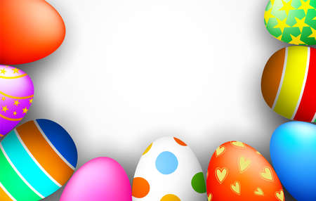 Easter border with colorful painted eggs. Happy holiday. Illustration isolated on white background.