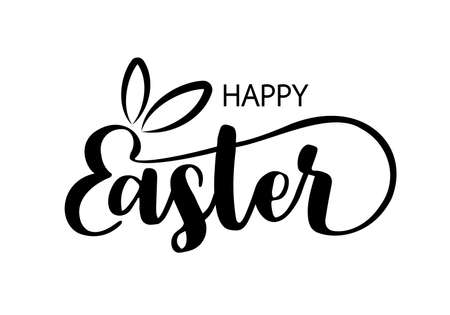 Happy Easter. Hand lettering and custom typography