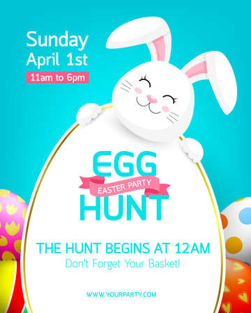 Party poster for Easter Egg Hunt with cute bunny. Cartoon holiday invitation with smiling rabbit head, ears and copy space.