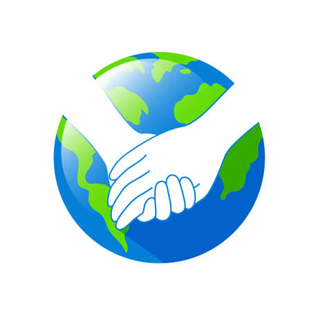 Holding hands with Earth planet. Earth Day concept. Icon design for poster, banner, t-shirt or website. illustration isolated on white background. Illustration