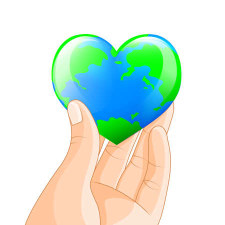 Human hand holding heart shape of planet Earth. Earth day concept illustration isolated on white background.