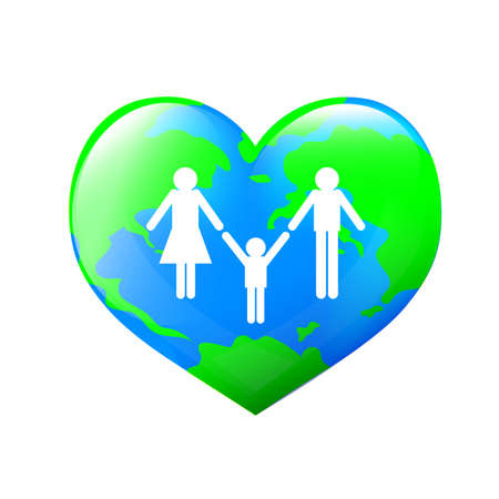 Family over world. Heart shape of earth planet. Family care concept. Illustration isolated on white background. Illustration