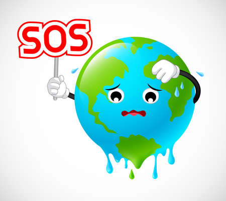 Stop global warming. Planet earth character holding SOS sign. Illustration on white background. Illustration