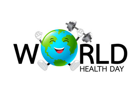 World health day concept text design. With globe mascot weight lifting over. Illustration isolated on white background. Illustration
