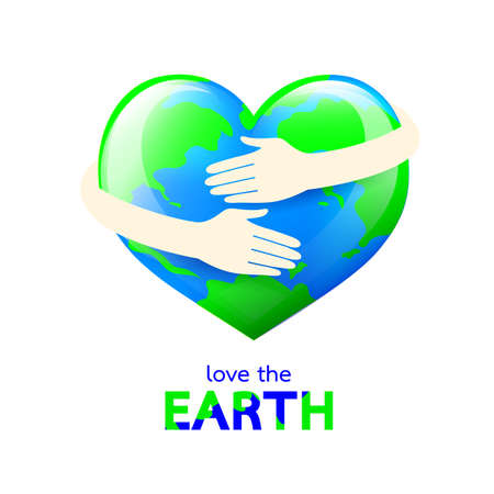 Hug the globe heart shape. Happy Earth day concept, World Environment Day icon design of poster, card and banner. Illustration isolated on white background.