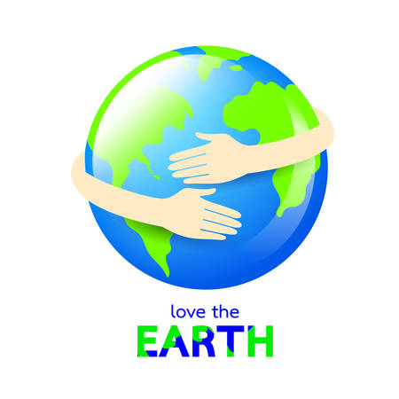 Hug the globe. Happy Earth day concept, World Environment Day icon design of poster, card and banner. Illustration isolated on white background.