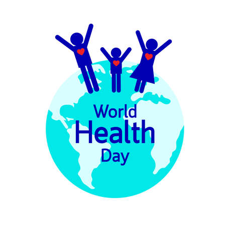 Globe with healthy family.  World health day concept. Illustration isolated on white background.