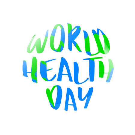 World health day lettering design in circle shape. Celebration hand drawn text for postcard, card, banner template. Illustration isolated on white background.