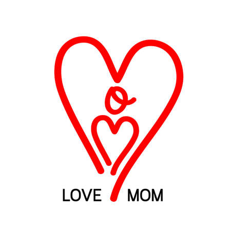 Love mom icon design, heart shape lettering. Happy mother day concept. Vector illustration isolated on white background. Illustration