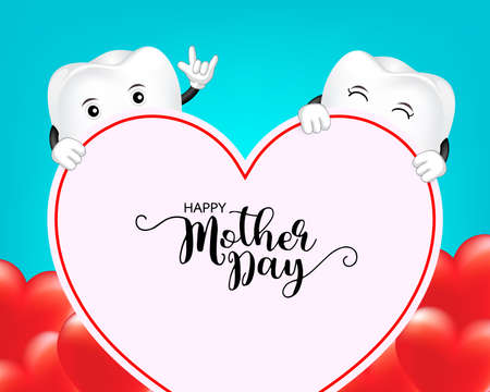 Happy Mothers day banner template with red heart design