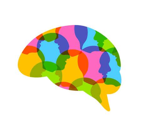Colorful  head of people in human brain shape. Creative idea symbol. Icon design, illustration isolated on white background. Çizim