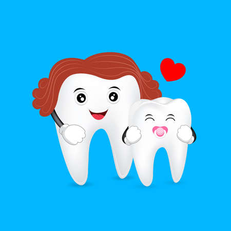 Cute cartoon mom and baby tooth Illustration