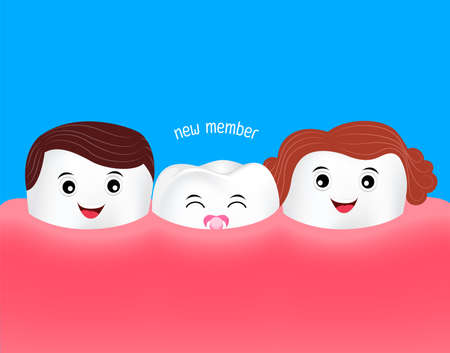 New baby tooth character growing up. Dental care cute cartoon, illustration. Illustration