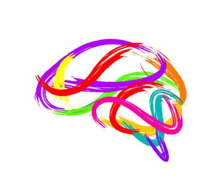 Streszczenie mózg wykonany z pociągnięcia farby jako symbol twórczej idei. Projekt ikona, ilustracja na białym tle.