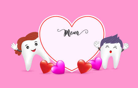 Cute cartoon tooth character with heart shape. Mother day banner background template with red heart  Illustration on pink background.
