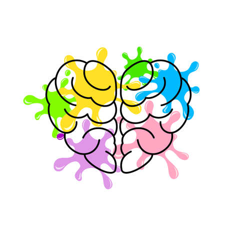 Brain in heart shape with colorful splash. Creative mind concept. Vector illustration isolated on white background.