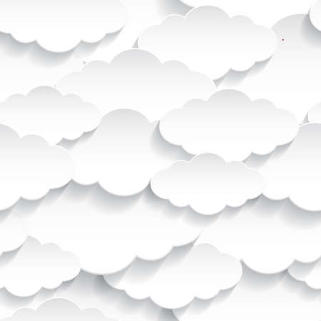 White Paper Clouds Seamless Pattern. Abstract illustration Background. Illustration